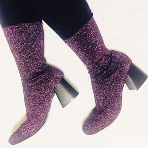 Cape Robbin Purple Daisy Sock Boots Metallic NEW